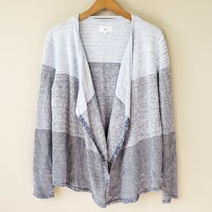 Lou & Grey Striped Open Front Cardigan Sweater